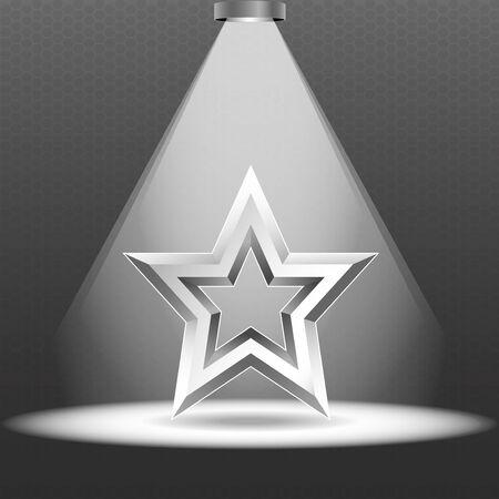 illuminate: Scene with spotlights. One lamp illuminate the metal star on the podium. Metal star. Vector.