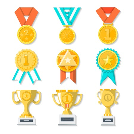 Sport or business trophy award icons set. Hanging medals, gold cups and gold awards on white. Vector poster of prizes and rewards made of gold, on beautiful tapes and stands in flat style. Stockfoto
