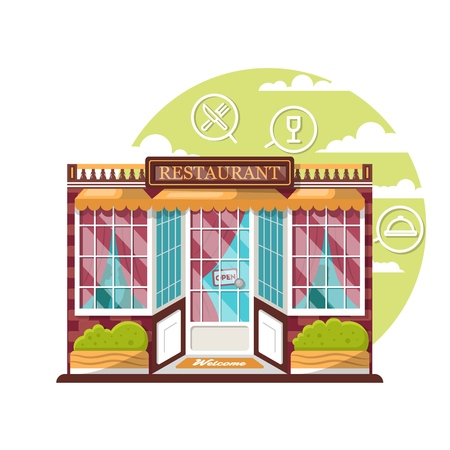 Restaurant concept. Flat design city public building with storefront and different interior design elements. Modern landscape set with bushes, logo, window with shadows of people.