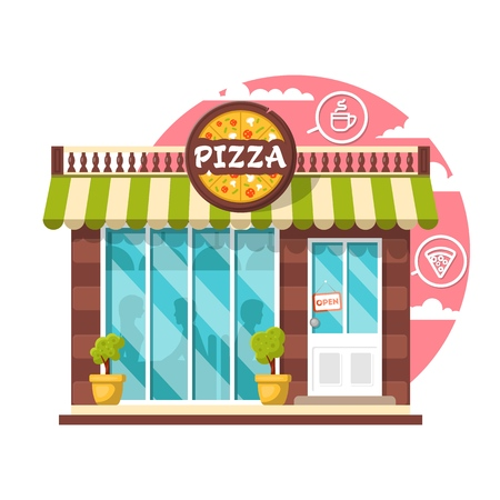 Pizza cafe concept. Flat design city public building with storefront and different interior design elements. Modern landscape set with bushes, logo, window with shadows of people.