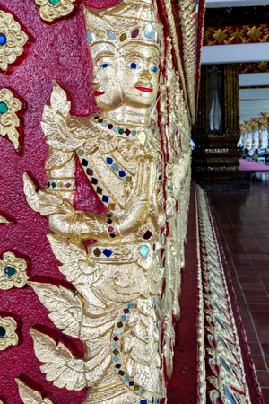 stucco: Thai ancient gold plaster stucco perspective view Stock Photo