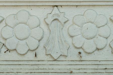 stucco: White Flora stucco background