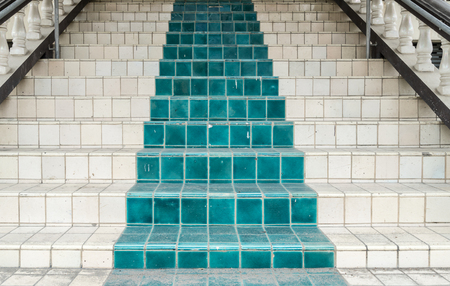 Green And White Ceramic Tile Staircase Stock Photo, Picture And Royalty  Free Image. Image 60663084.
