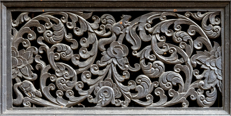 wood craft: Wood craft Thai classic pattern in temple Stock Photo