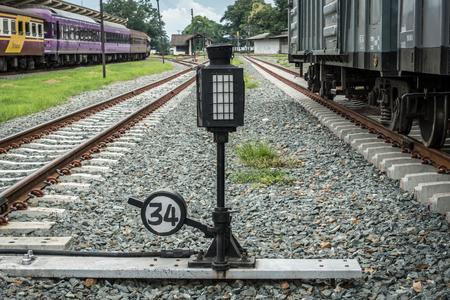 Railroad switch on gray gravel