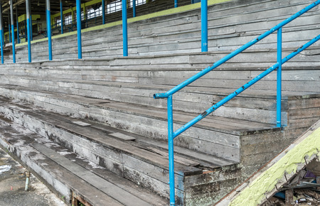 Old wooden grandstand in old stadium