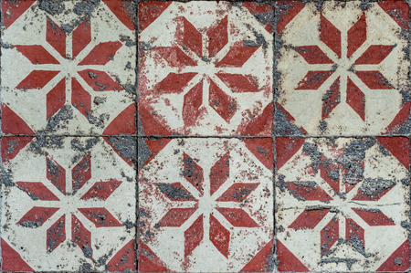 Old classic ceramic tiles floor