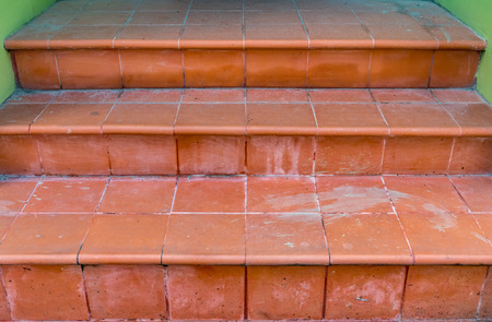 dirty: Dirty Brown tile staircase