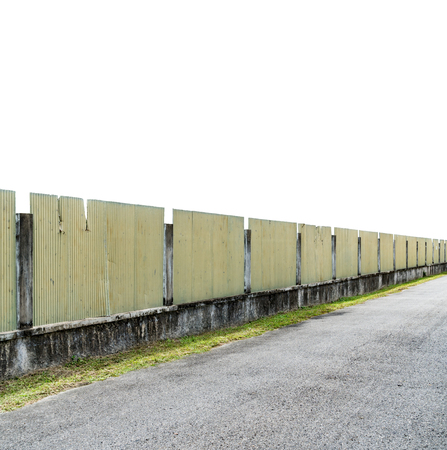 Perspective of Concrete and corrugated fence isolate on white background with clipping path