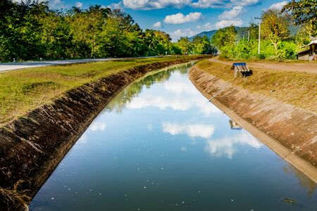waterway: Irrigation canal with blue sky background