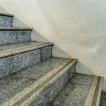 granite: Perspective of Gray granite staircase