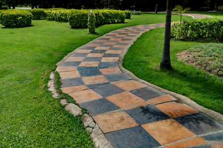 bush trimming: Concrete pathway in the park with green trimmed bush Stock Photo