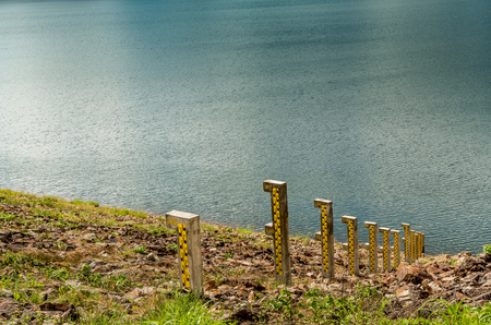 depth gauge: Water level pole at the lake
