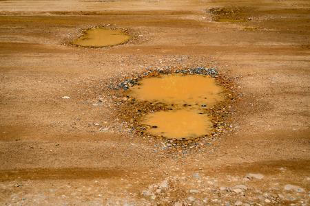 Pothole on the soil road