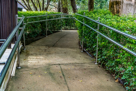 Concrete ramp for wheelchair in the park