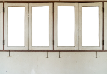 White Wooden Frame Windows On Concrete Wall Isolate On White.. Stock ...