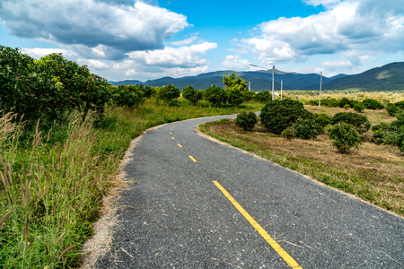 Asphalt road with green tropical forest at countryside of Thailand