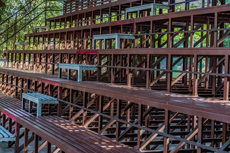 Perspective view of brown metal grandstand Stock Photo