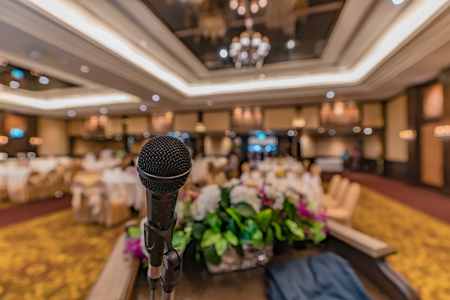 Microphone on blurred restaurant background