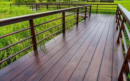 Wood footbridge in the rice paddy
