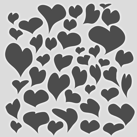 Valentines day background with bright dark gray hearts of different shapes and sizes filled all light gray background. web background.