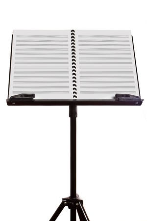 Music note stand on isolated white photo
