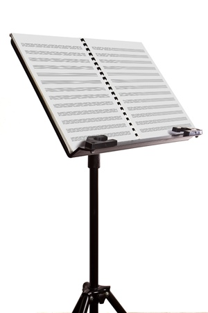 scores: 45 degree of music note stand on isolated white Stock Photo