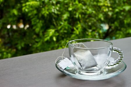transparence: Empty cup of tea in the garden
