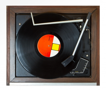 Old turntable on top view
