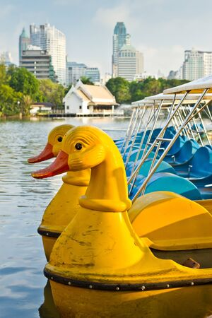 pedal boat for tourist in the park in Bangkok, Thailand Stock Photo