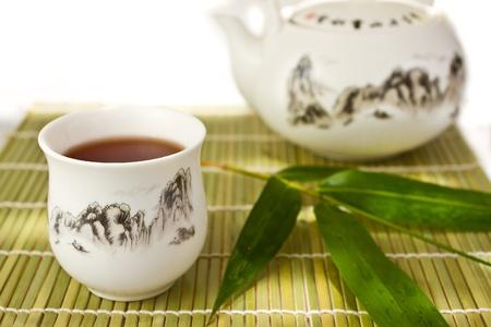 matt: Chinese tea set on bamboo mat