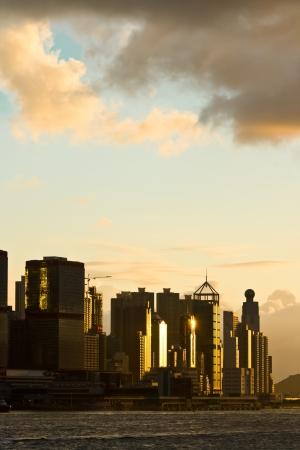 Skyscraper at Hong Kong in sun set mood