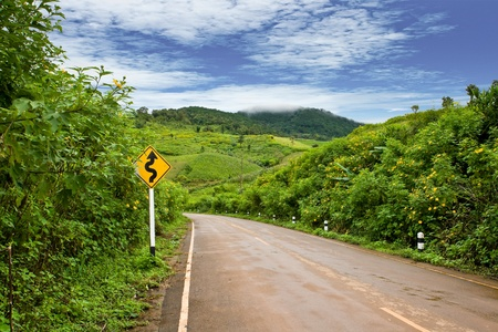 up country: Road to the hill, Doi Mae U-Kor, Northern of t Stock Photo