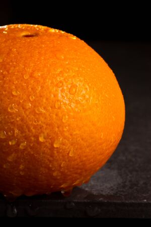 navel orange: Fresh Navel orange with drop of water