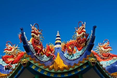 Red dragons on the roof of chinese temple photo