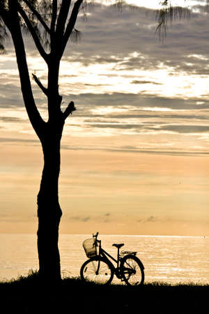 Bicycle on the sunrise beach