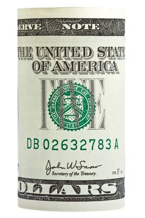 Rolled American bank note on isolated white