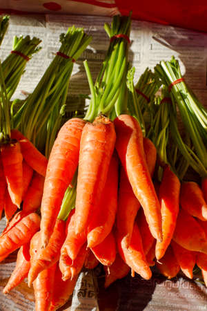 Carrot in the grocery, countryside of Thailand Stock Photo