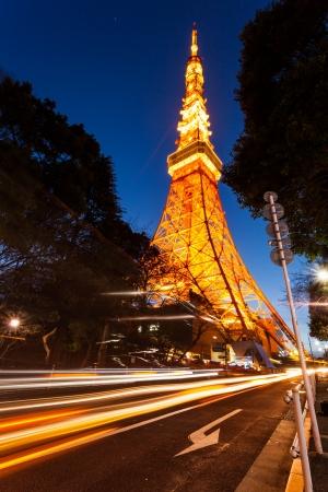 travel japan: Tokyo tower in sunset light