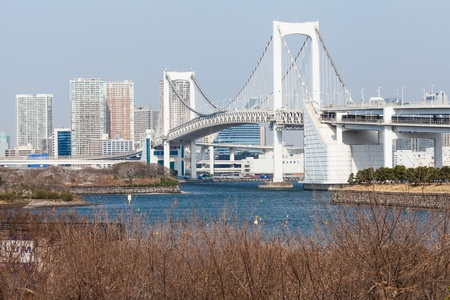 Tokyo view from Odaiba, with the Rainbow Bridge and Tokyo Tower