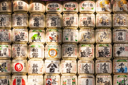 sake: Barrels of sake at Tokyo, Japan