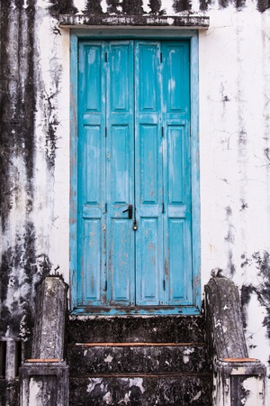Europe style door at ancient building in Thailand photo