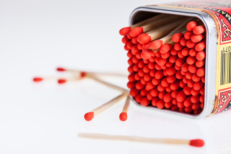 Matches in the zinc box on white background