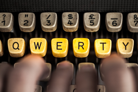 qwerty: word qwerty on the old typewriter Stock Photo