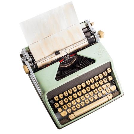 old typewriter on isolated white Stock Photo