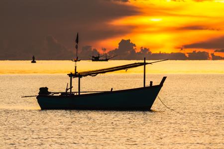 Fishing boat in sunrise mood, Pranburi,  Thailand