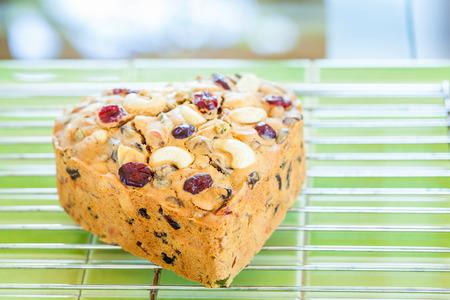 fruitcake: The heart of homemade fruitcake Stock Photo