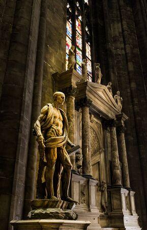 christian altar: MILAN , ITALY - JULY 04 2015: Saint statue in Milano Duomo on 04 July 2015 , Milan, Italy Editorial
