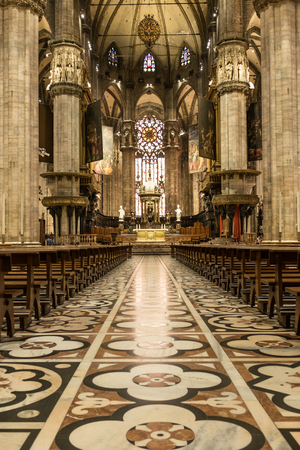 MILAN , ITALY - JULY 04 2015: nave in Milano Duomo on 04 July 2015 , Milan, Italy