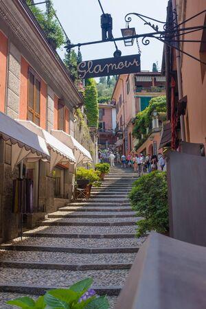 BELLAGIO, ITALY - JULY 5 2015: Tourists walking at Bellagio street,  Bellagio, Italy. Shopping street at Bellagio, Como lake Editorial